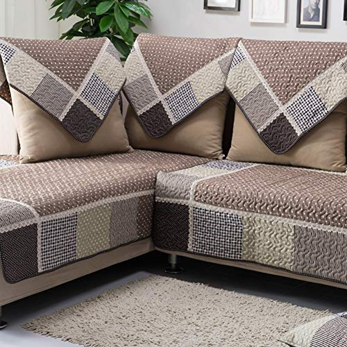 (QTDJ Multi-Size Pet Dog Couch All Seasons Plaid Quilted Cotton Furniture Protectors Covers for Sofa L Shape Resistant Stain Sofa Slipcover-Brown 90x240cm(35x94inch))
