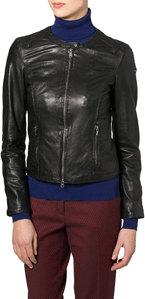 Women Leather Moto Jacket Cycle Bomber Biker Outwear KLW139