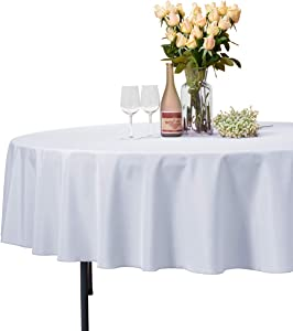 VEEYOO Round Tablecloth 100% Polyester Circular Bridal Shower Table Cloth – Solid Soft Dinner Table Cover for Wedding Party Restaurant (White, 90 inch)