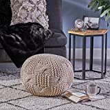 Ansel Knitted Cotton Pouf, Beige