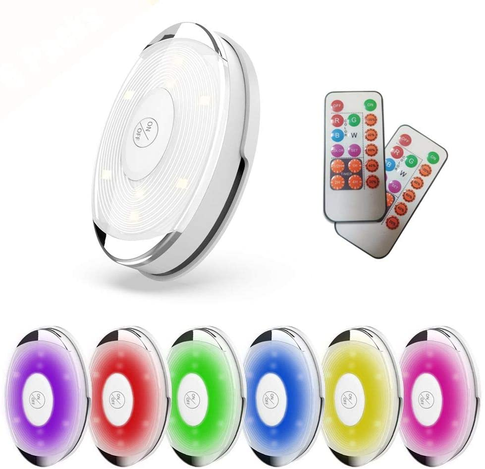 RGBW Under Cabinet Light Set, Color Changing and Battery Powered LED Puck Light with Remotes (6 Pack)