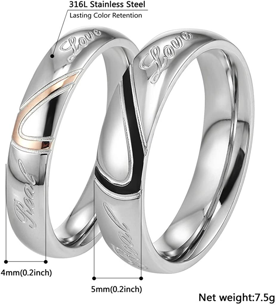 316L Stainless Steel Ring Men Love Jewelry for Bridal Wedding 5mm Bands PSR2521