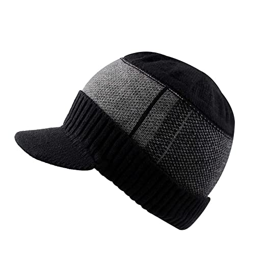 eac897c7 XIAOHAWANG Winter Men Hat Knit Cable Visor Beanie with Fleece Lining  Patchwork Stripe Newsboy Cap with