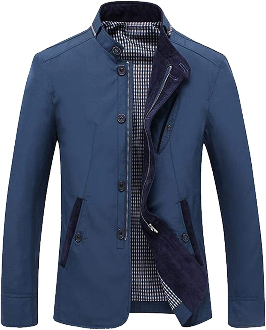 FSSE Mens Casual Slim Cotton Solid Stand Collar Windbreaker Jacket Trench Coat