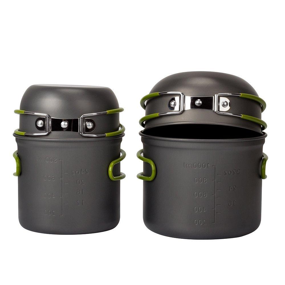 アウトドア キャンプ 調理器具 10個 コンパクト 硬質アルマイト バックパッキング 調理器具 軽量 ボウル 鍋 フライパン 汚れキット ハイキングやピクニックに  1 set B071JGV68S