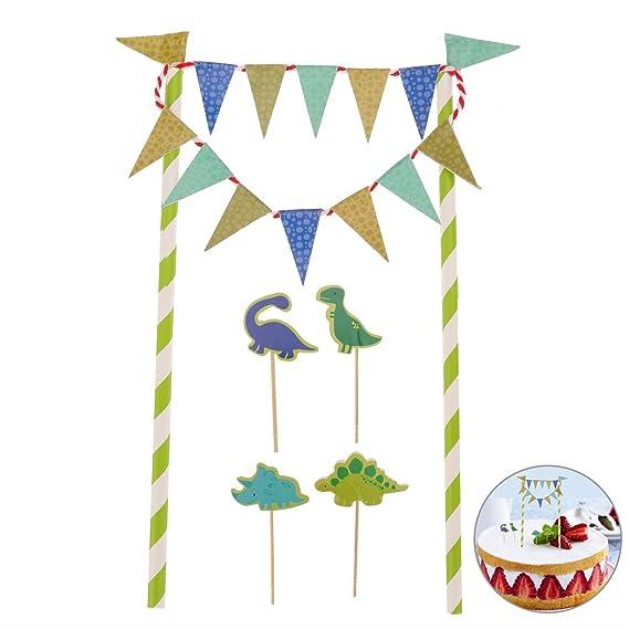 LUOEM - Guirnalda para decoración de pasteles, diseño de dinosaurio, ideal para fiestas de cumpleaños infantiles: Amazon.es: Hogar