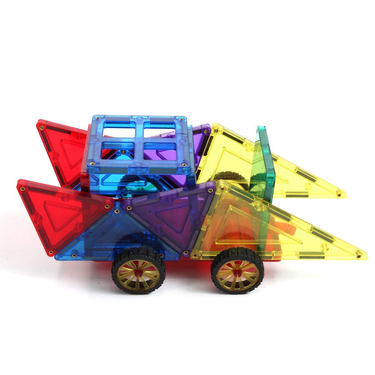 Heavens Tvcz 磁気開発玩具 カラフルなタイル 建物 クリア マルチカラー セット 車 & キャリーボックス 100ピース 学習教育 分類スタッキング   B07JN94RLC