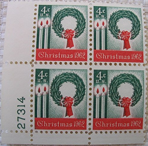 1962 U.S. 4-cent Christmas Wreath Plate (4 Stamp Plate)