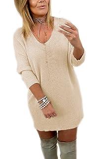 Mikos  Damen Pullover Leicht V-Ausschnitt Langarm Lose Bluse Frühling  Strickpullover 36 38 S M 8da0288802