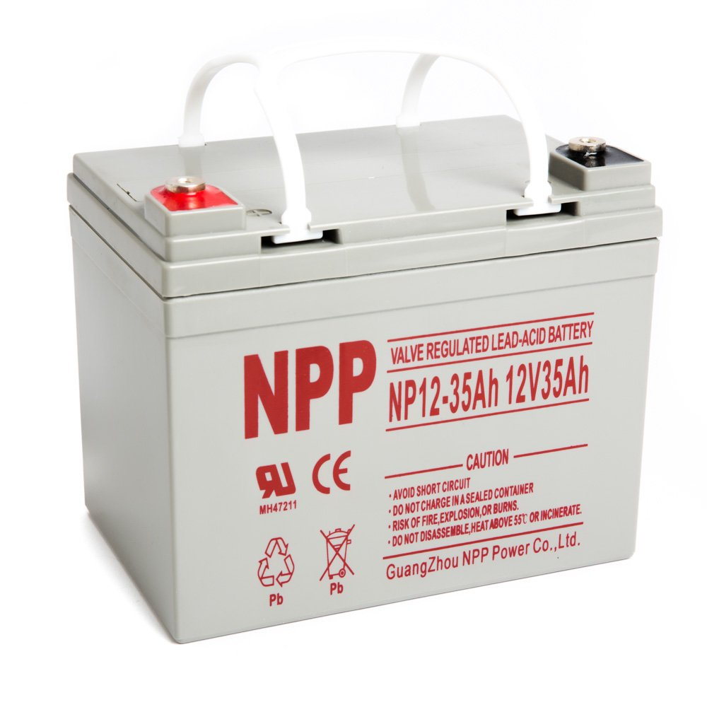 NPP 12V 35 Amp NP12 35Ah Rechargeable AGM Lead Acid Battery With Button Style Terminals