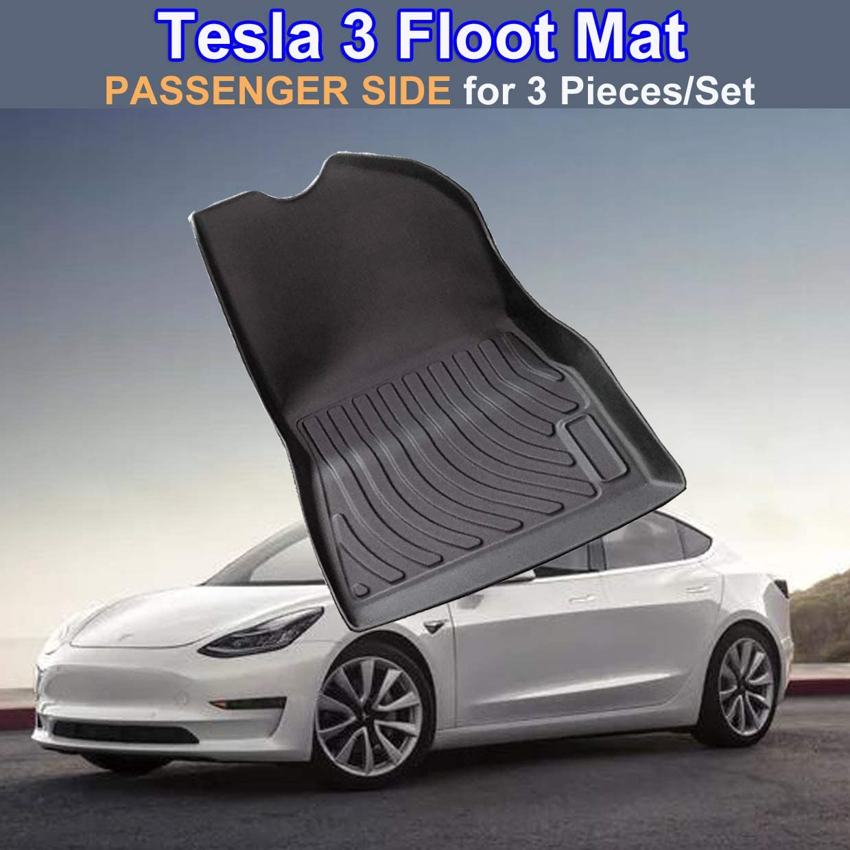 Non-Skid Black Rubber Front Trunk Mat Sturdy Heavy-Duty Cargo Liner Cargo Mat TPO Cargo Storage Mat for Model 3 WeDoi All-Weather Frunk Mat Customized for Tesla Mode 3