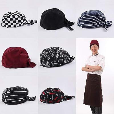 4 gorros de cocinero bandana de tela para cabeza Wrap Tied Cap unisex para chef: Instrumentos musicales