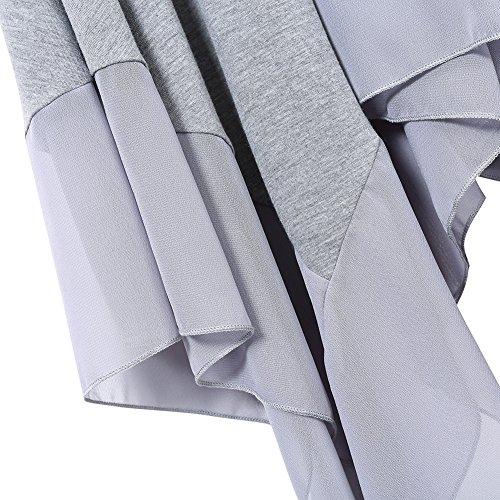 Shirt KoJooin Blouse Tunique Casual Asymtrique Mesdames Longshirt de Top Casual T Oversize Plus kurzarm Mousseline Taille Grau en Soie rSOBqr