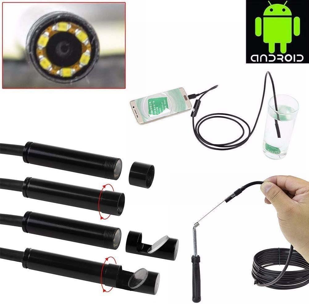 5.5mm 1M Hard LittleMokey Wireless Endoscope Waterproof Snake HD Video-Inspektionskamera-Endoskop mit 6 gef/ührten Lichterkabel geeignet f/ür Android Smartphone
