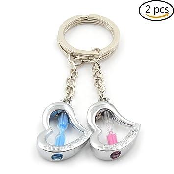 Uoeo 2 Herz Form sand Timer Sanduhr Schlüsselanhänger, blau und pink