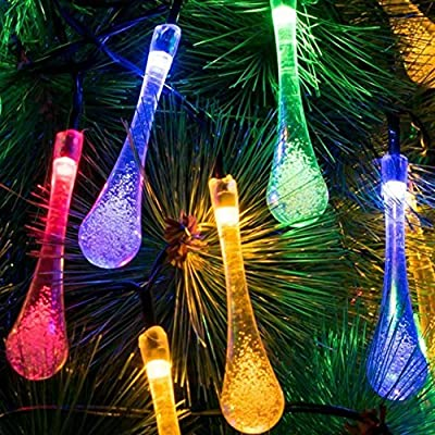 Sogrand Solar Lights,Fairy String Lights 60 LED Outdoor Garden Decorative Light Landscape Lighting Colorful Waterdrop for Party Patio Yard Festival Lawn