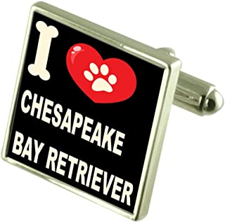 Silver 925 Cufflinks & Bond Money Clip - I Love Chesapeake Bay Retriever