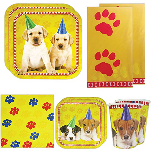 Puppy Deluxe Party Packs (70 Pieces for 16 Guests!), Puppy Party Supplies, Puppy Decorations, Birthday Tableware Puppy Birthday Party Supplies