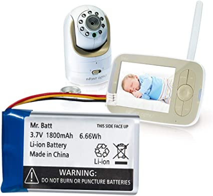 1800mAh Mr.Batt Replacement Battery for Infant Optics DXR-8 Video Baby Monitors