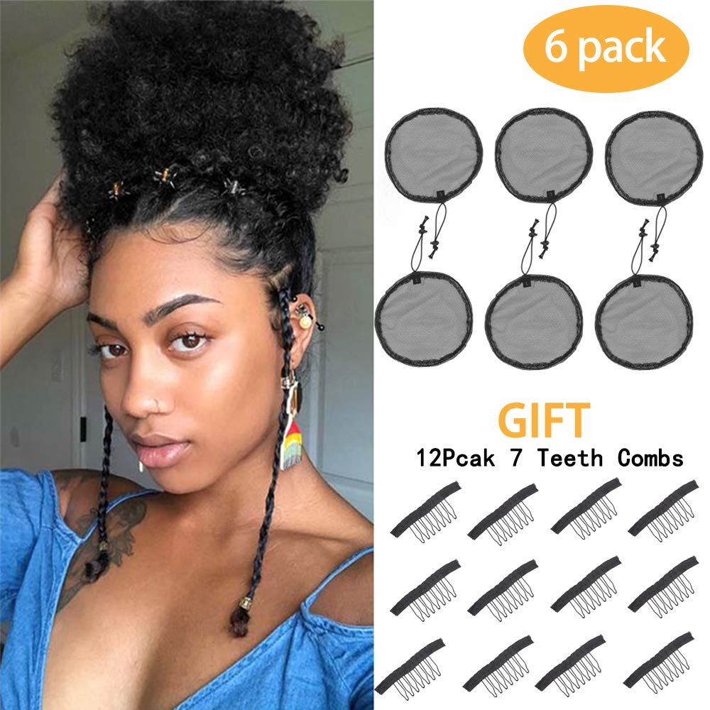 6pcs Black Ponytail Net Wig Caps For Making Guleless Hairnet Hair Wig Making Tools Bun Maker Hair Net For Women (L/Round(6Pcs)) by lufulan