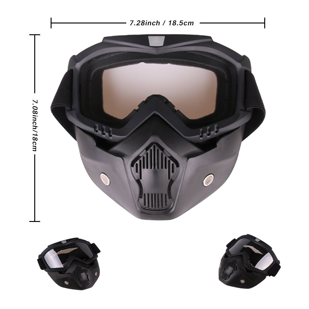 PiscatorZone Goggles Mask Tactical Goggles with Detachable Face Mask for Cycling Skiing Outdoor CS Paintball (Transparent) by PiscatorZone