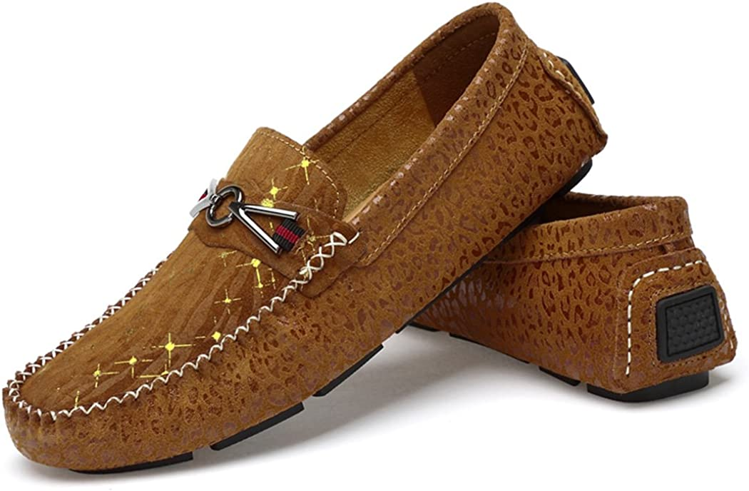 Sun Lorence Mens Driving Penny Loafers Suede Leather Driver Moccasins Slip On Flats Casual Boat Shoes