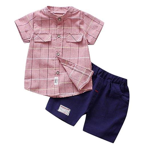 f3c19dcbf88d4 Amazon.com: Lurryly 2Pcs Newborn Baby Boys Plaid Blouse+Pants Kids ...