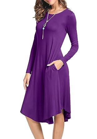 1b74d7027740 levaca Womens Fall Simple Loose Swing Casual Party Midi Shift Dress Purple S