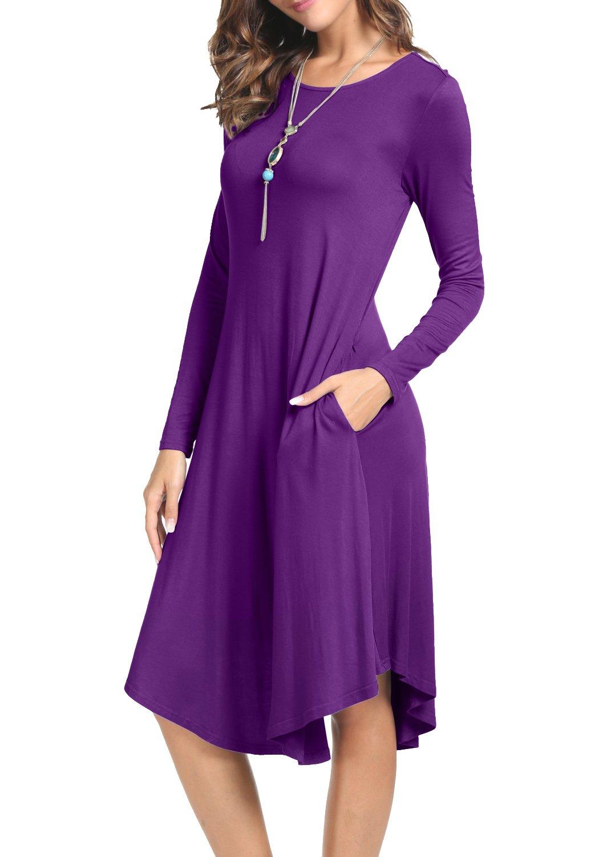 levaca Womens Fall Simple Loose Swing Casual Party Midi Shift Dress Purple L