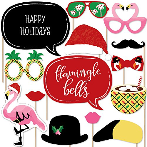 Flamingle Bells - Tropical Flamingo Christmas Party Photo Booth Props Kit - 20 Count]()