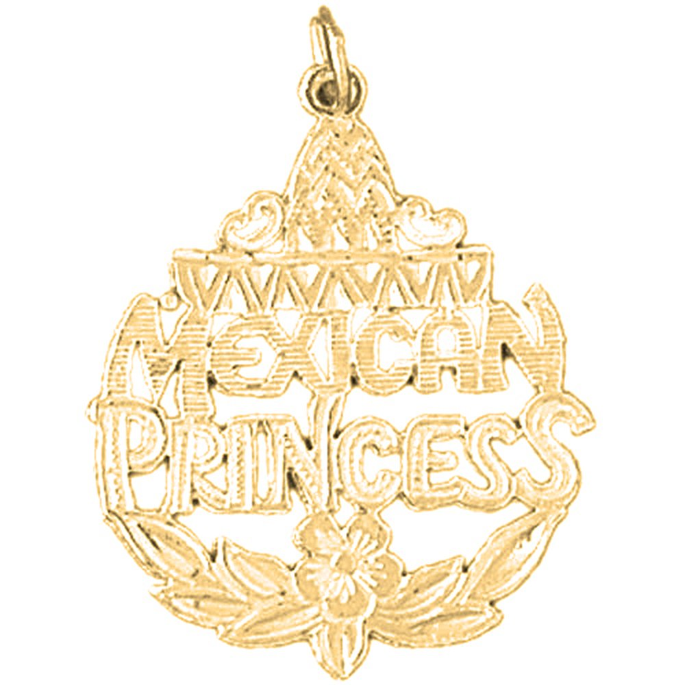 Silver Yellow Plated Mexican Princess Pendant 31mm