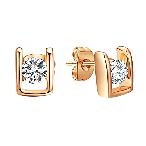 ee9e49180 VOGEM Bridal CZ Earrings 1Ct Cubic Zirconia Solitaire 18K Rose Gold Plated  Stud Earrings For Women: Amazon.ca: Jewelry