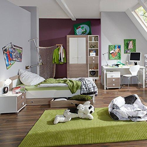 8 Tlg Kinderzimmer Eiche Sagerau Weiss Kleiderschrank