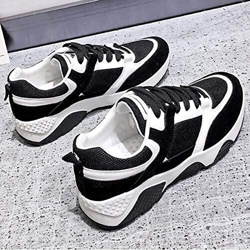 Estate Punta Scarpe Stringata elastico donna Comfort Rosa Sneakers Nera ZHZNVX e Sintetico Primavera Piattaforma Autunno da Black tonda Tessuto Grigio 4wAWqBfz
