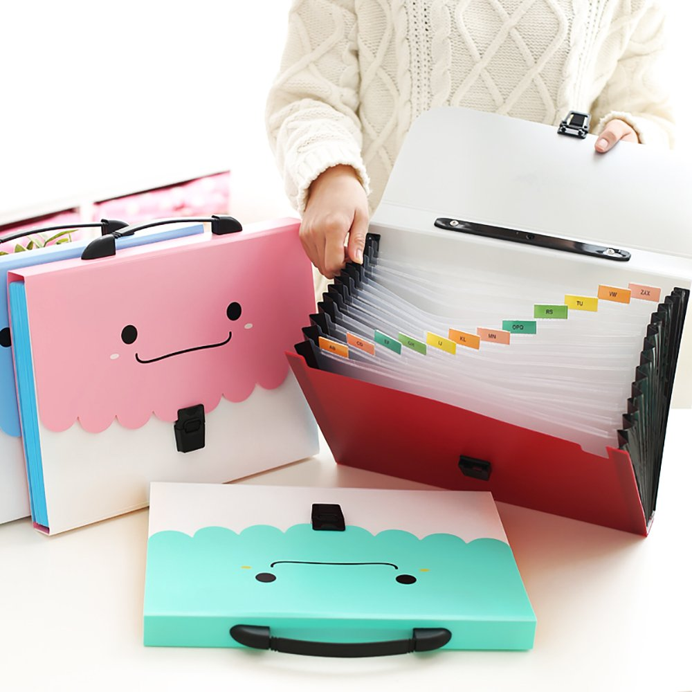 12 Pockets Paper Accordion Expanding File Folder Document Organizer Holder A4 Handle Buckle Color Tabs Blue Zhi Jin