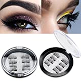 Beauty : Magnetic False Eyelashes FOR OUTER EDGED - 3D Fiber Reusable Lashes Extension - 2 Pairs (8 Pieces) Perfect for Deep Set Eyes & Round Eyes (8 PCS-1)