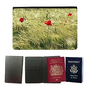 Passeport Voyage Couverture Protector // M00237046 Campo de maíz rojo de las amapolas de // Universal passport leather cover