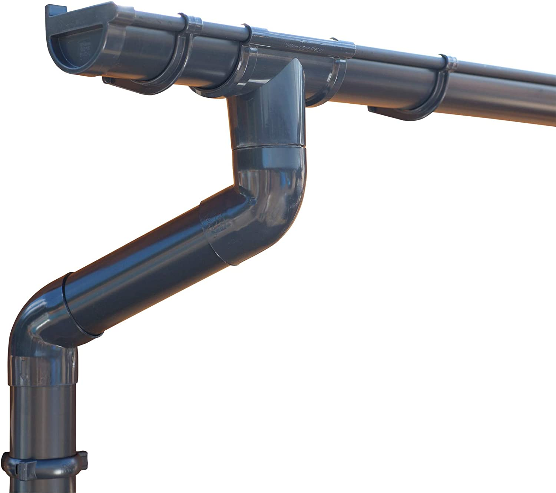 NG 280 inkl.Fallrohr mit Stirnbretthaltern oder Rinneisen 4 m Rinne + 4m Fallrohr, mit Stirnbretthaltern Dachrinnenset 4-16 m lang verzinkt Roofart 7 TLG 127mm