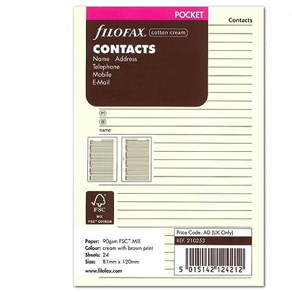 Filofax Pocket - Recambio para libreta de anillas, agenda de contactos (nombre, dirección postal, dirección de correo electrónico, teléfono, fax y ...