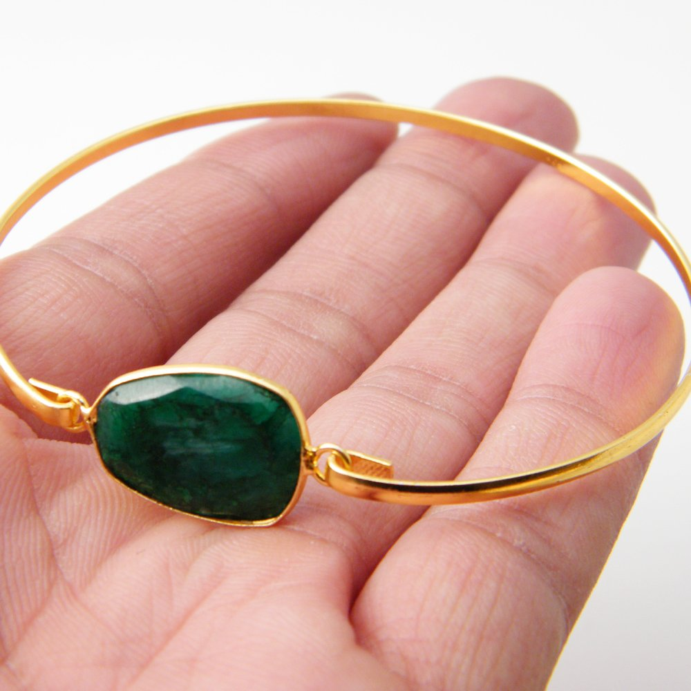 Gold Tone Jewelry Bronze Bracelet Green Emerald Beryl Bracelet AH-8203 Gemstone Bracelet Jewelry