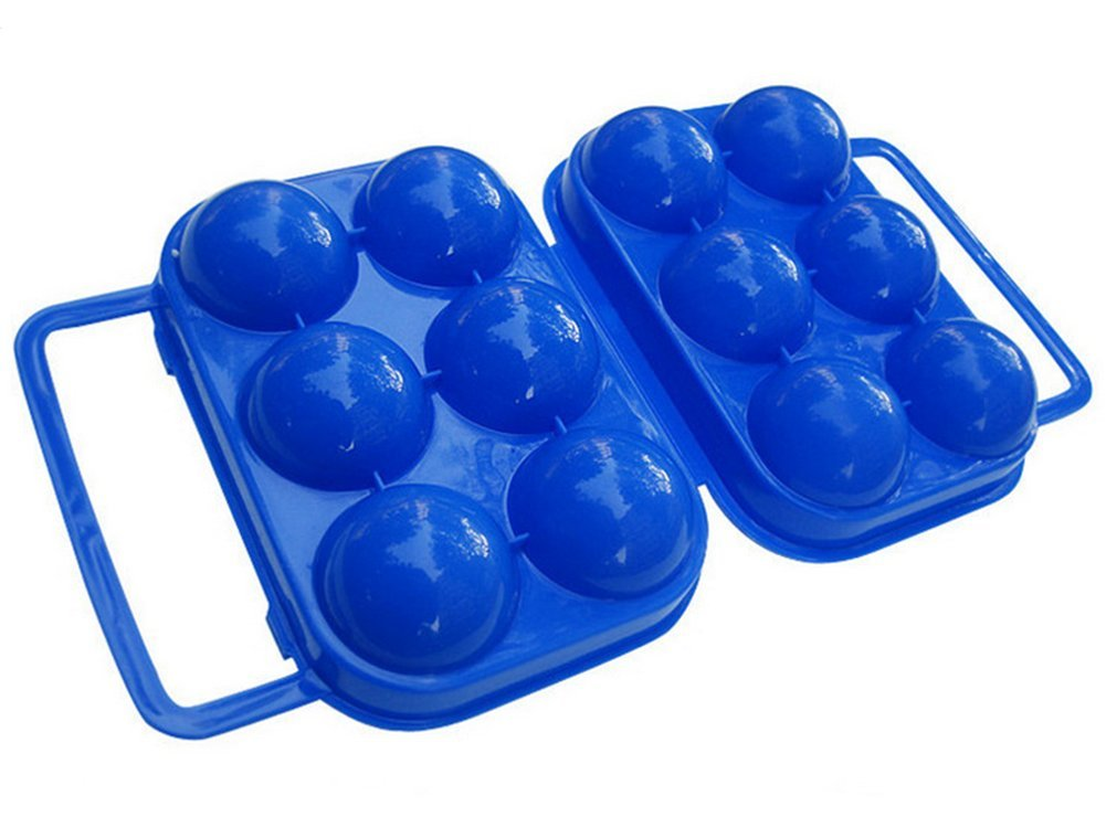 iTemer 6 Grids Eggs Storage Box with Handle Portable Plastic Eggs Storage Container Outdoor Camping Carrier (Blue)
