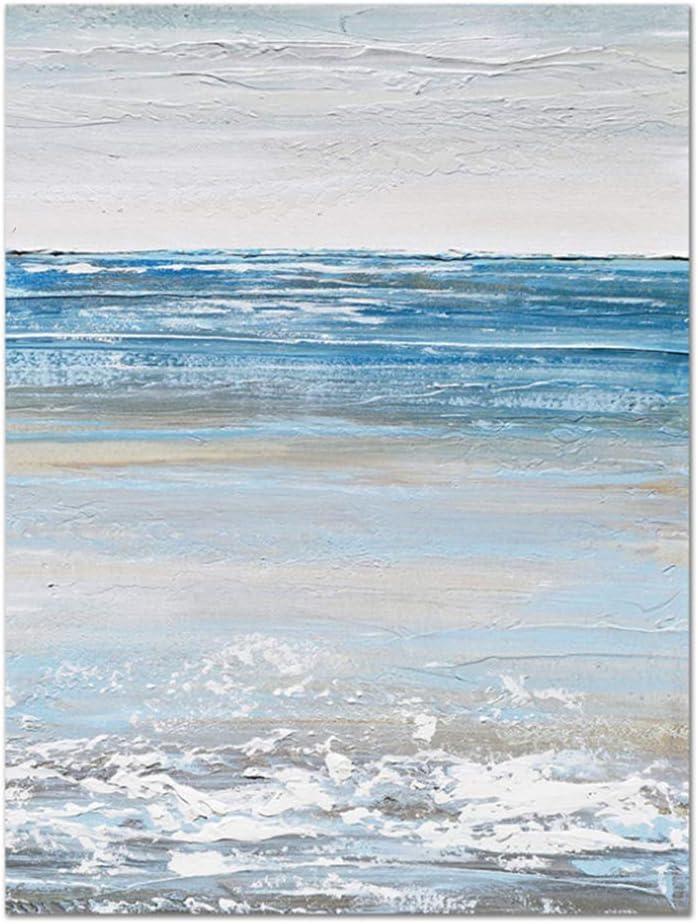 YANGYANGFBH Pinturas de Lienzo de Paisaje Marino Blanco y Azul Abstracto Cuadros Impresiones de Arte de Pared para decoración de Sala de Estar -60x80 cm Sin Marco