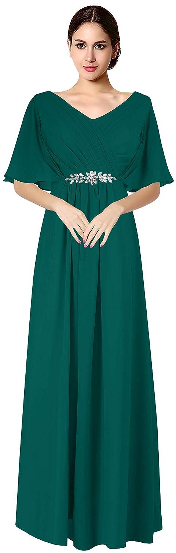 Teal Green VaniaDress Women V Neck Half Sleeveles Long Evening Dress Formal Gowns V265LF