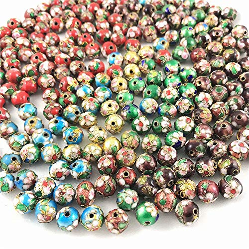 - Allb Cloisonne Enamel Beads Spacer Loose Metal Beads Jewelry Accessories for DIY Jewelry Making Bracelet Necklace 50PCS(Mixed 6mm)