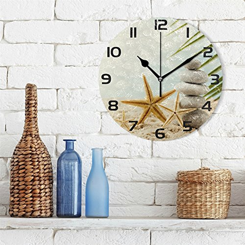 WellLee Stones Spa Treatment Scene Sea Clock Acrylic Painted Silent Non-Ticking Round Wall Clock Home Art Bedroom Living Dorm Room Decor by WellLee (Image #2)