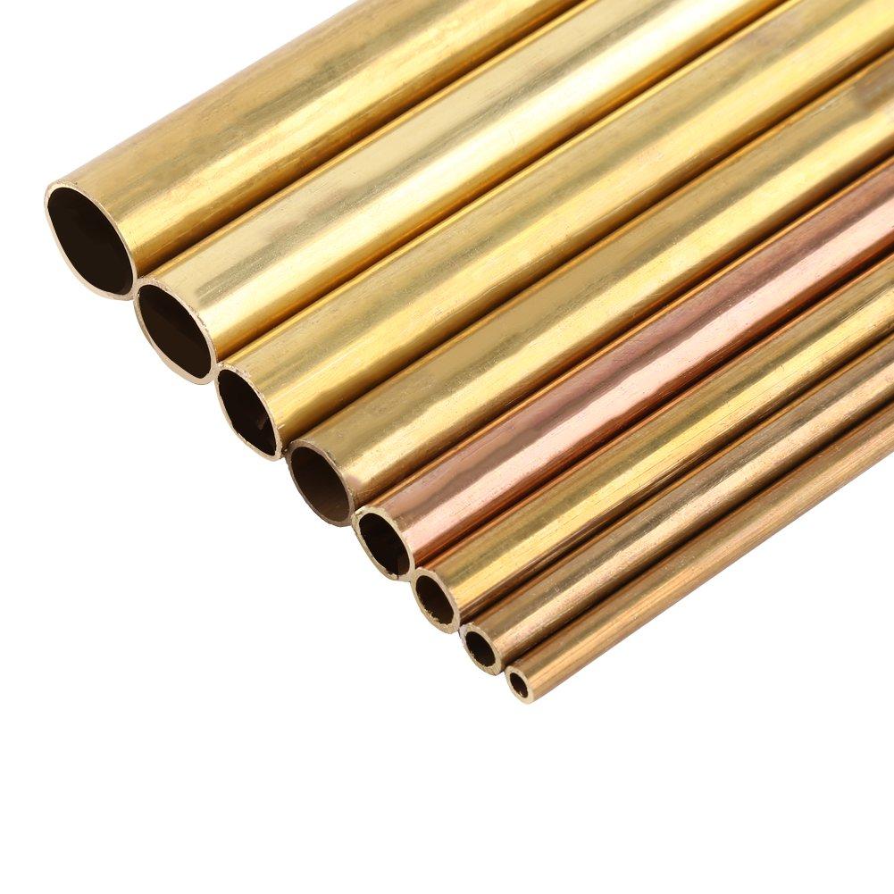 14mm 1pc Tubo de Lat/ón Redondo Tubo de Lat/ón Hueco 50cm de Longitud 0.6-2cm Di/ámetro Exterior