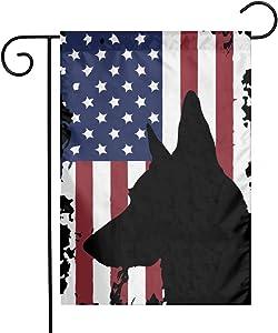 POYOMUK German Shepherd American Flag Garden Yard Flag 12