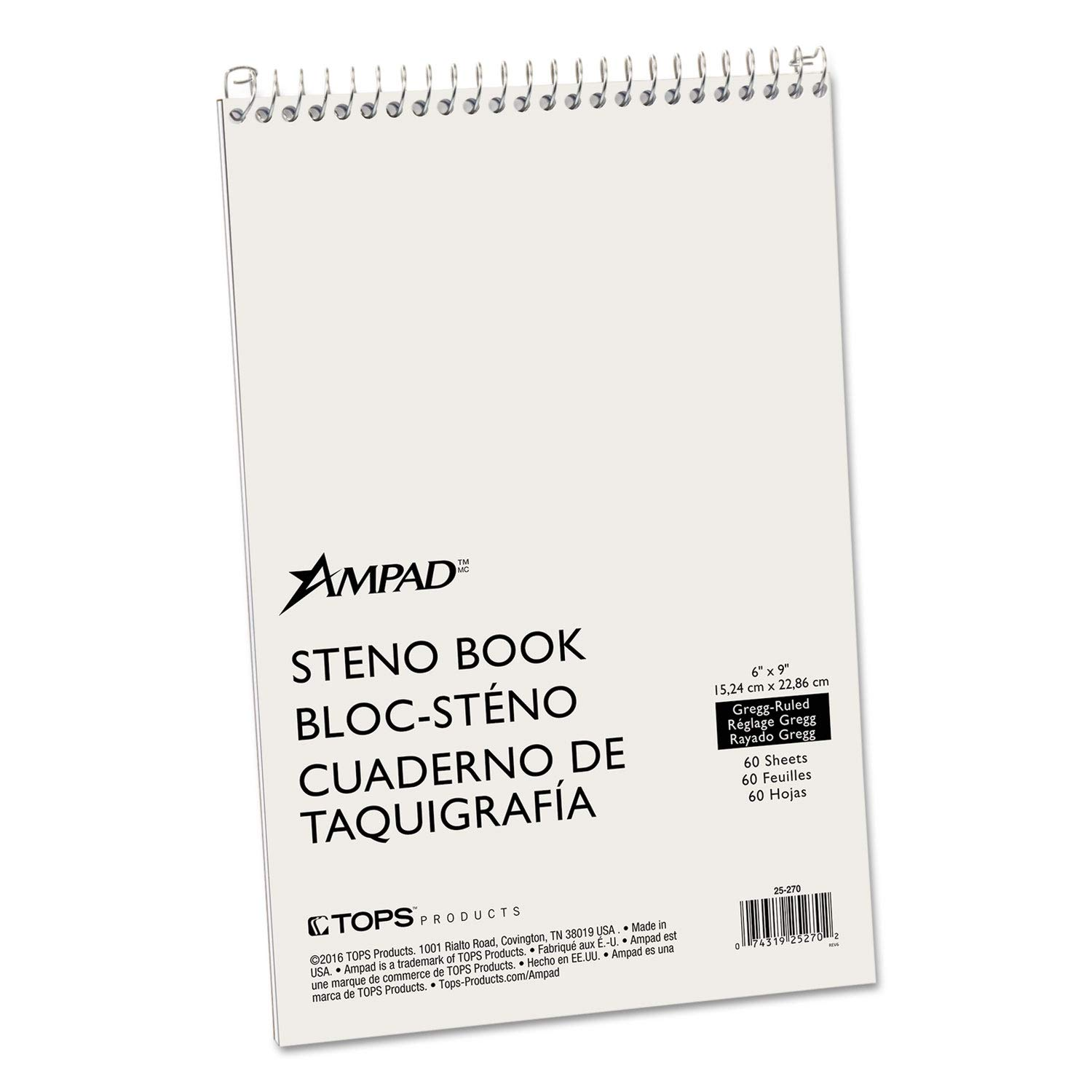 Ampad Spiral Steno Book, Gregg, 6 x 9, 15 lb, Green Tint, 60 Sheets - 25-270 (Pack of 10)