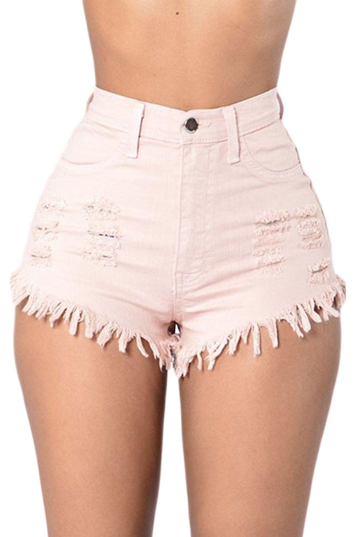 Sevozimda Donne Di Alta Vita Ringered Frange Caldo Occasionale Jeans Pantaloncini Di Jeans ITQZ2723