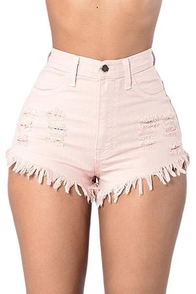 comprar baratas 605af c4623 Las Mujeres De Cintura Alta con Flecos Casual Ringered Hot Jeans Denim  Shorts Blanco S